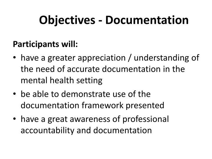 Objectives - Documentation