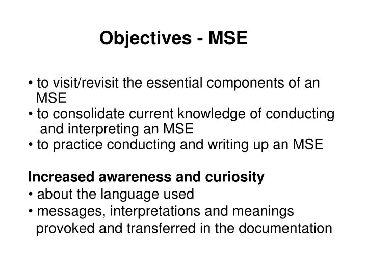 Objectives - MSE