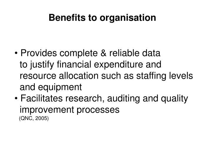 Benefits to organisation