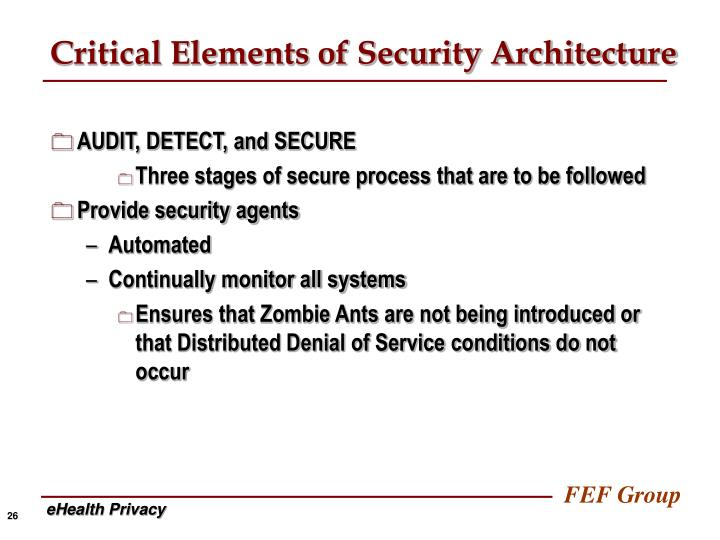 Critical Elements of Security Architecture