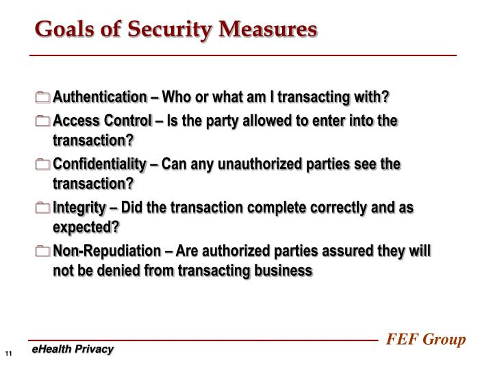 Goals of Security Measures