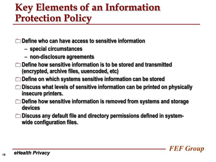 Key Elements of an Information Protection Policy
