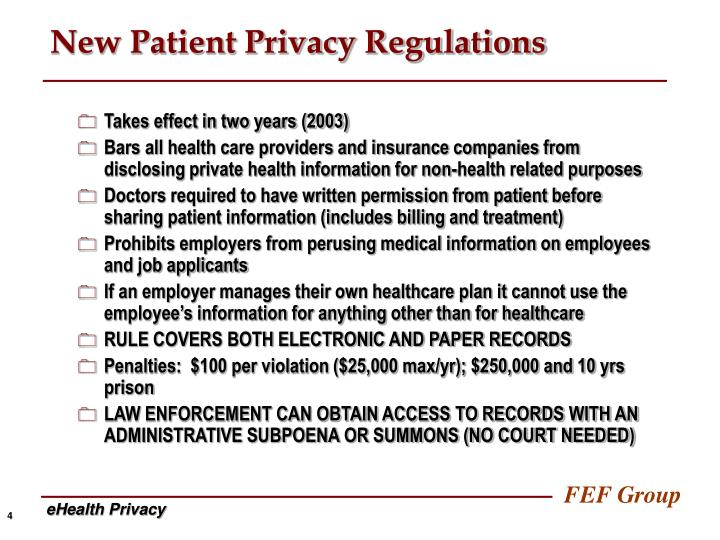 New Patient Privacy Regulations