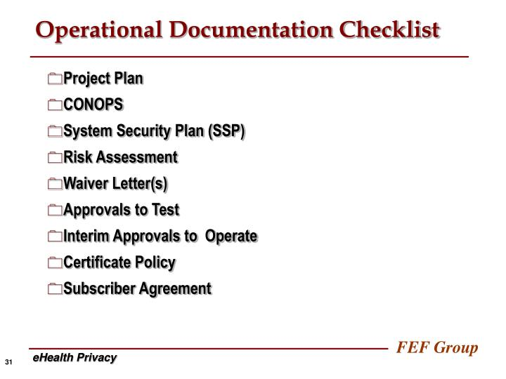 Operational Documentation Checklist