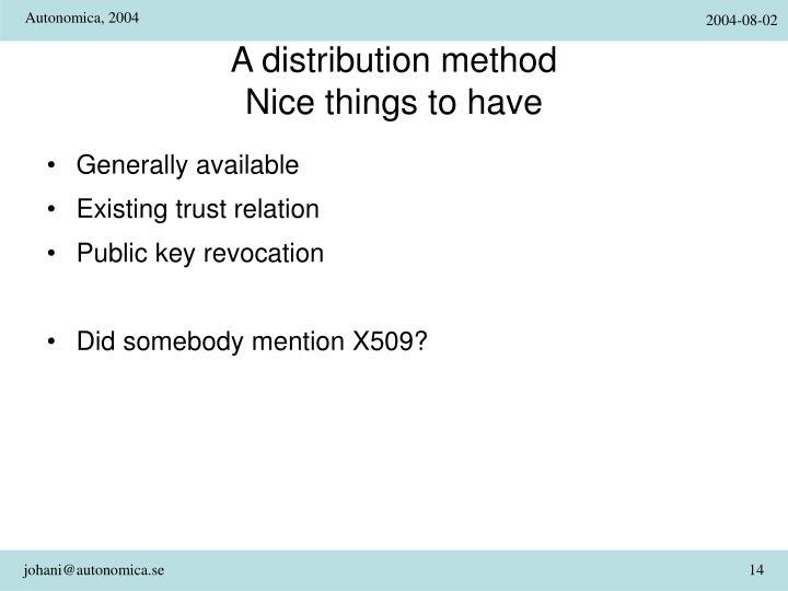 A distribution method