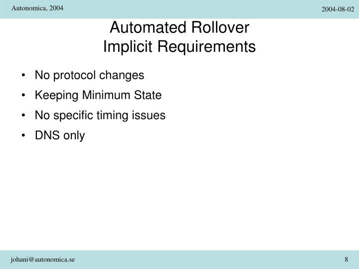 Automated Rollover