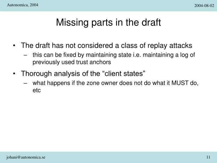 Missing parts in the draft