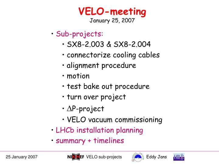 velo meeting january 25 2007