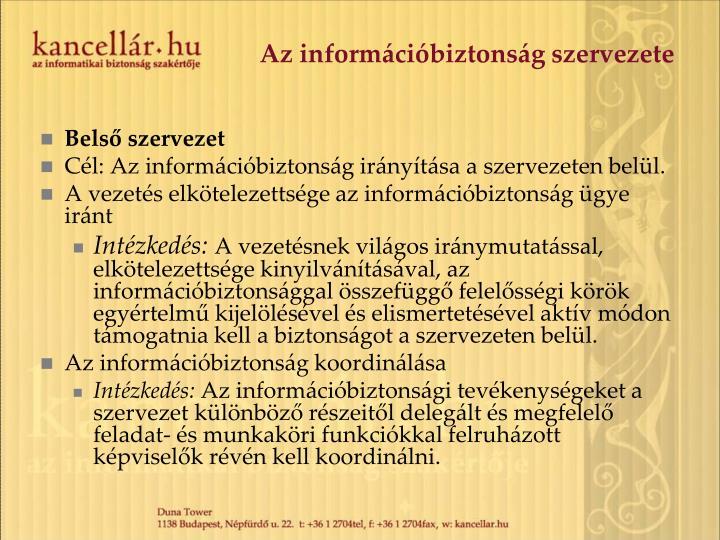 Az információbiztonság szervezete