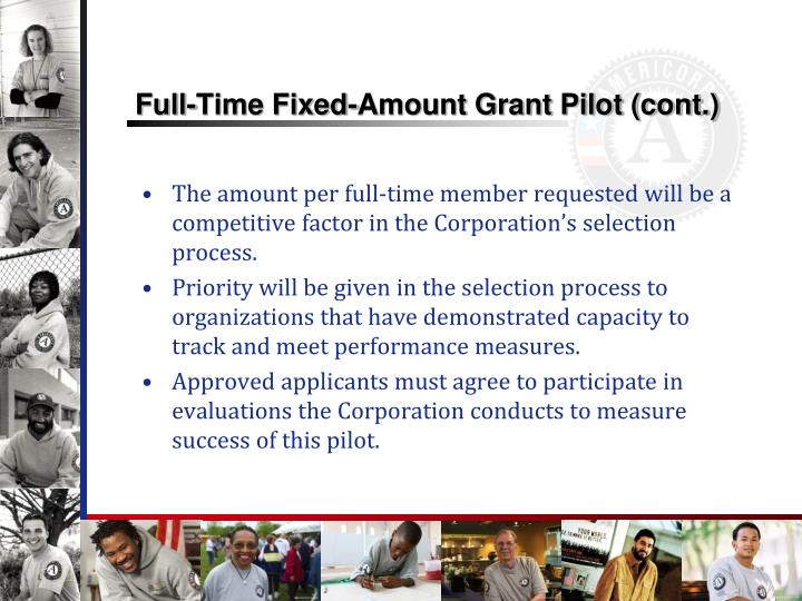 Full-Time Fixed-Amount Grant Pilot (cont.)