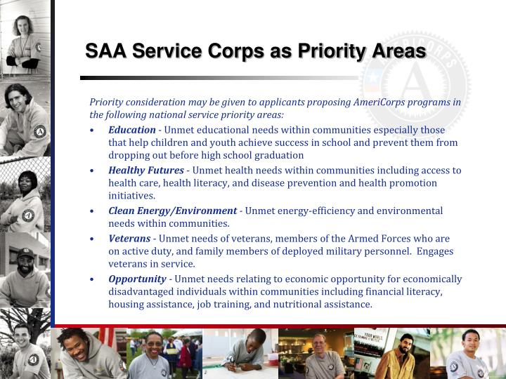 SAA Service Corps as Priority Areas