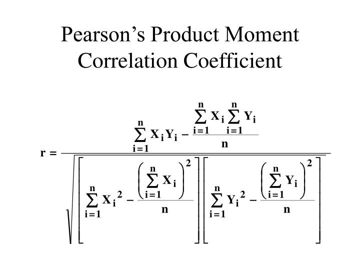 Pearson's Product Moment Correlation Coefficient