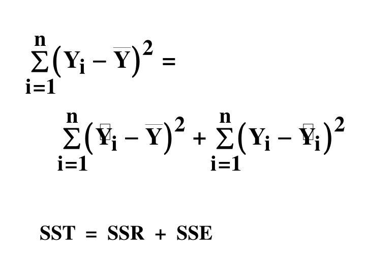 SST  =  SSR  +  SSE