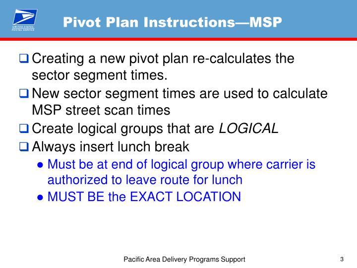 Pivot Plan Instructions—MSP