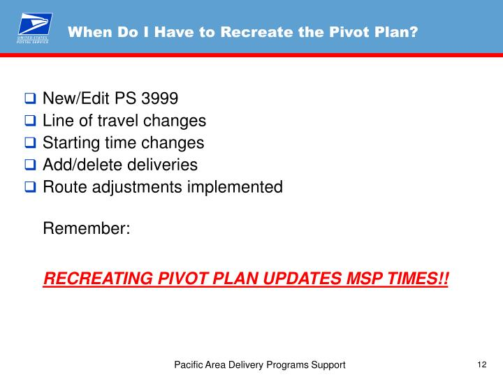 When Do I Have to Recreate the Pivot Plan?