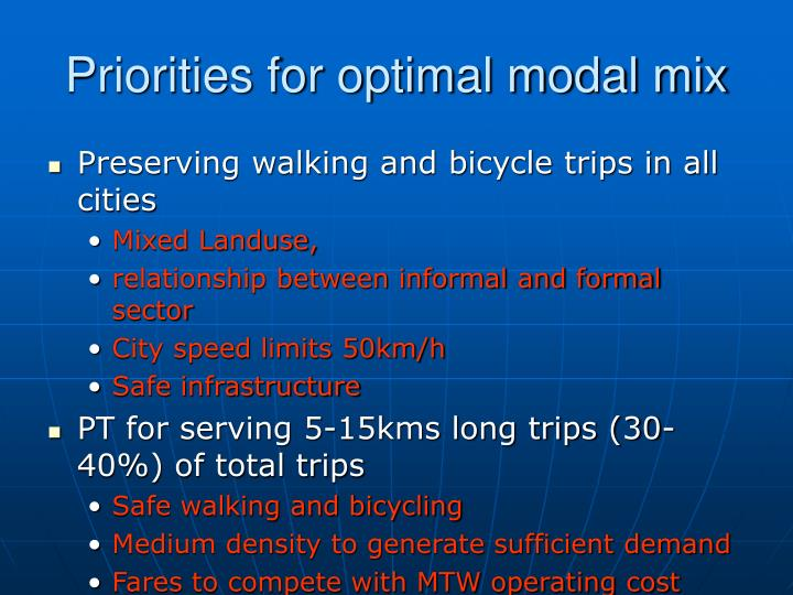 Priorities for optimal modal mix