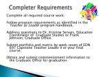 completer requirements