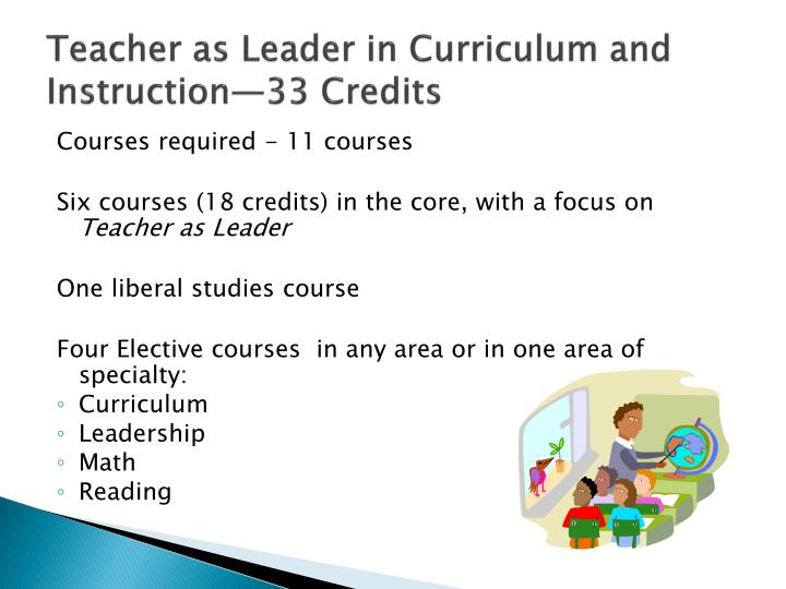 Teacher as Leader in Curriculum and Instruction—33 Credits