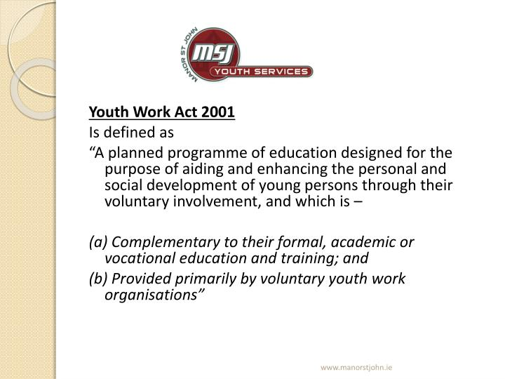Youth Work Act 2001