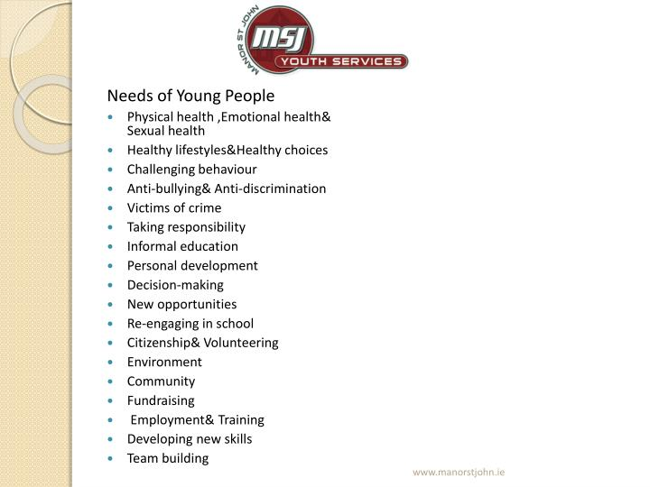 Needs of Young People