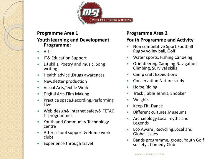 Programme Area 1