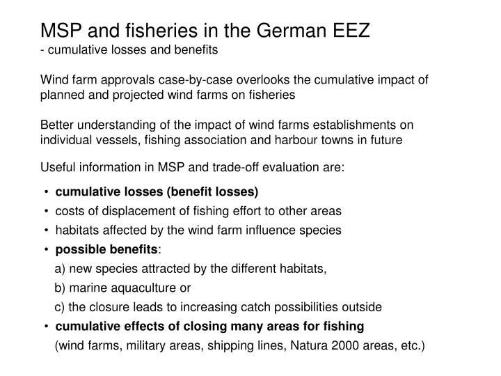MSP and fisheries in the German EEZ