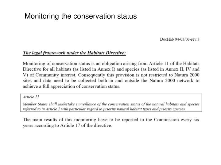 Monitoring the conservation status