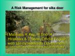 a risk management for sika deer