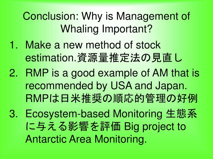 Conclusion: Why is Management of Whaling Important?