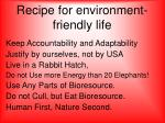 recipe for environment friendly life