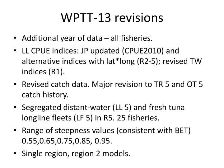 WPTT-13 revisions