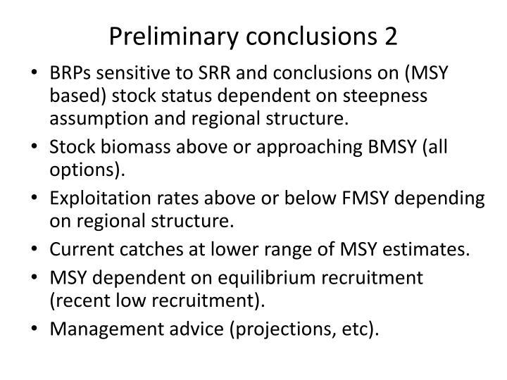 Preliminary conclusions 2