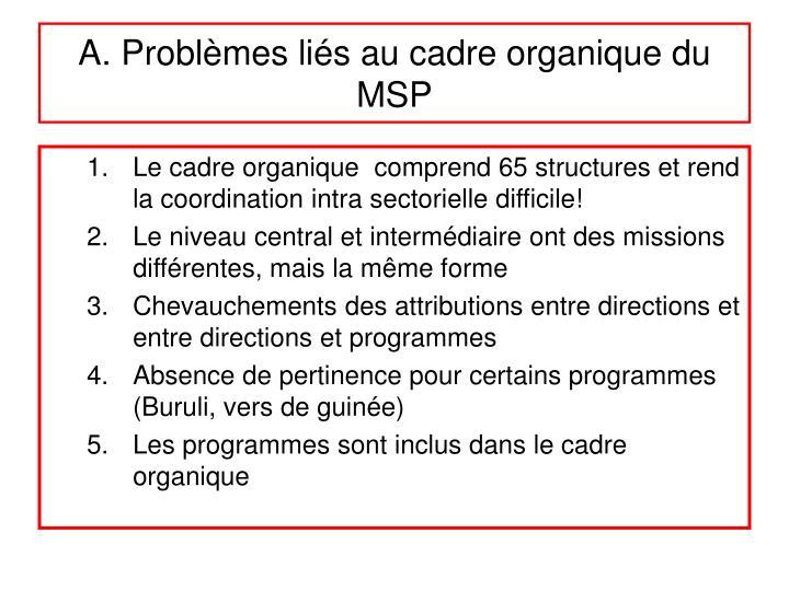 A. Problèmes liés au cadre organique du MSP