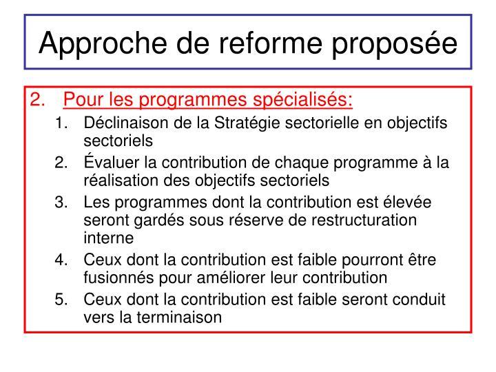 Approche de reforme proposée