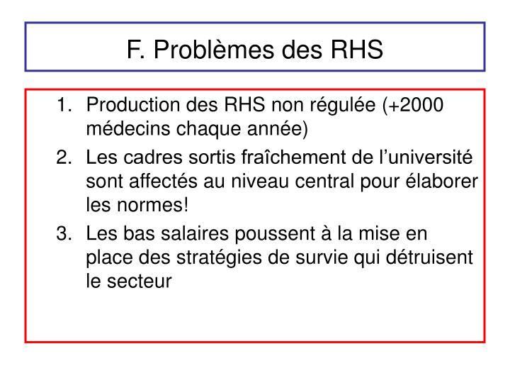 F. Problèmes des RHS