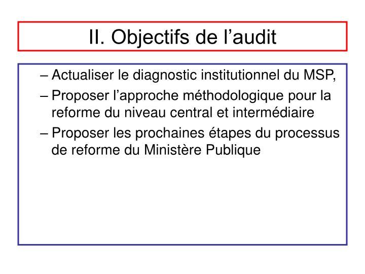 II. Objectifs de l'audit