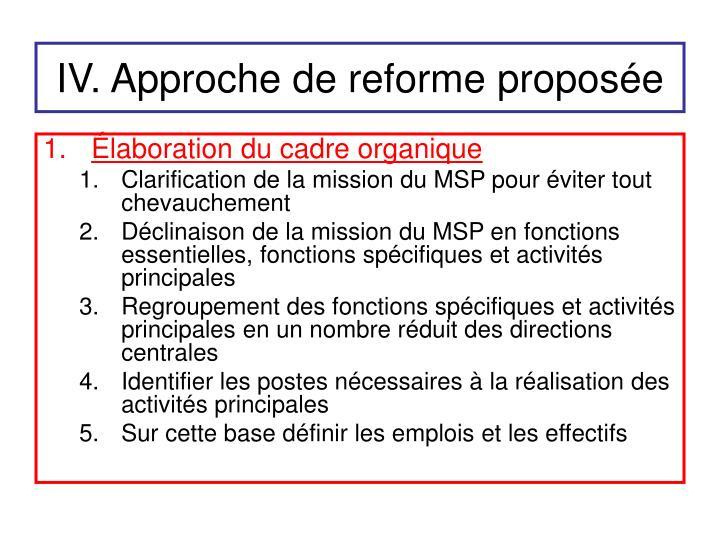 IV. Approche de reforme proposée