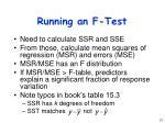 running an f test
