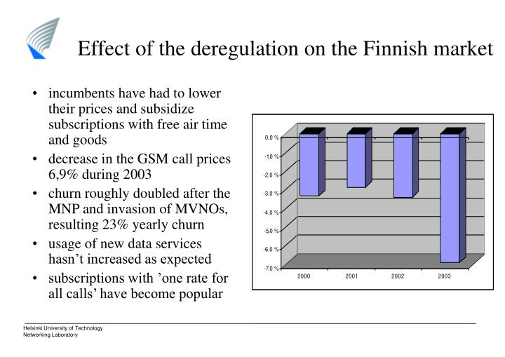 Effect of the deregulation on the Finnish market