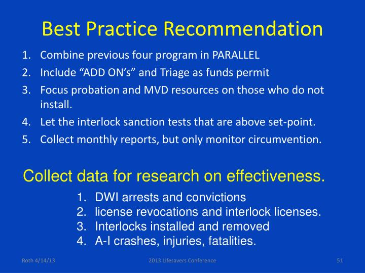 Best Practice Recommendation