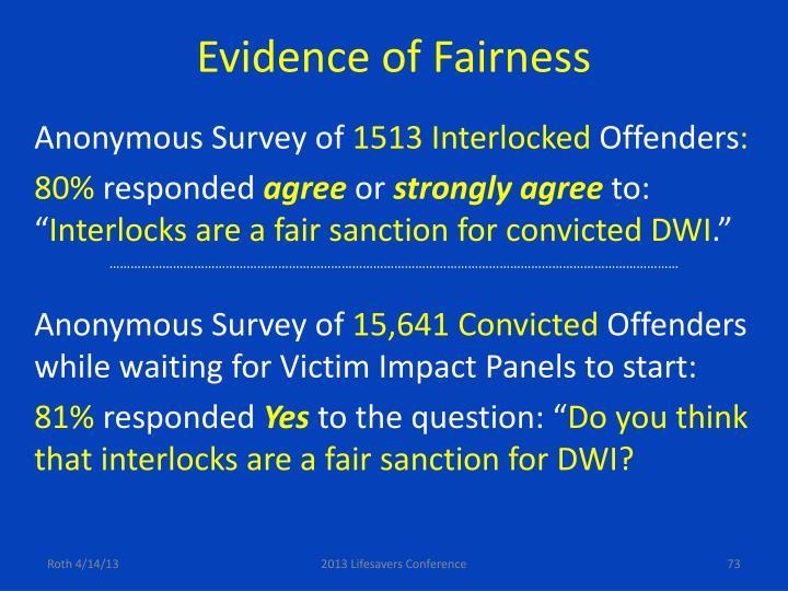 Evidence of Fairness