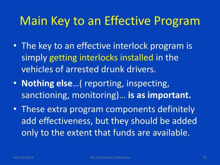Main Key to an Effective Program
