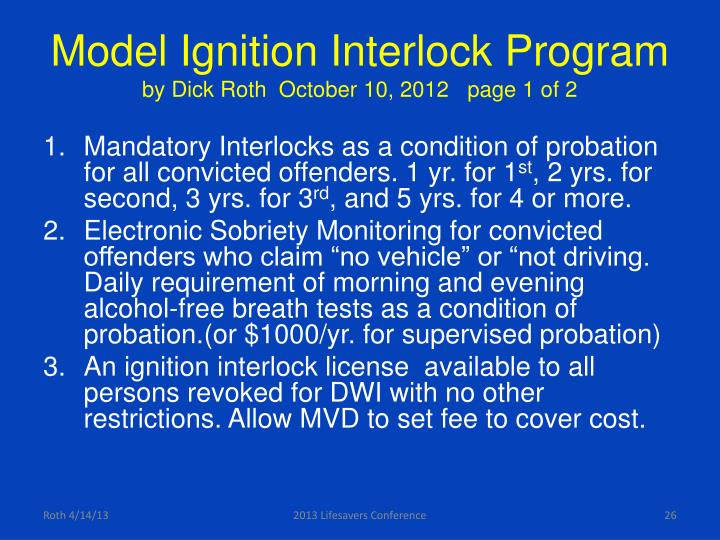 Model Ignition Interlock Program