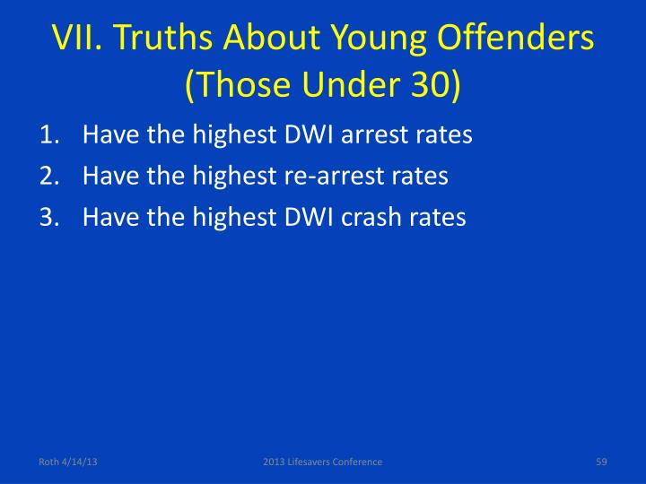 VII. Truths About Young Offenders (Those Under 30)
