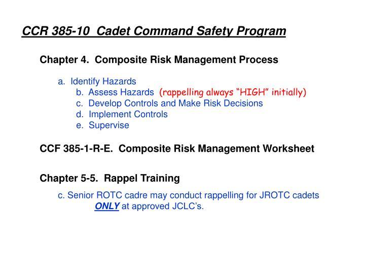 CCR 385-10  Cadet Command Safety Program