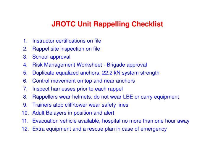 JROTC Unit Rappelling Checklist