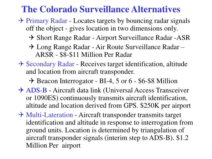 The Colorado Surveillance Alternatives