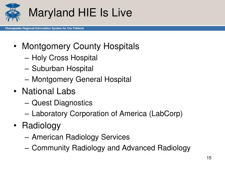 Maryland HIE Is Live