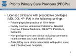 priority primary care providers ppcps