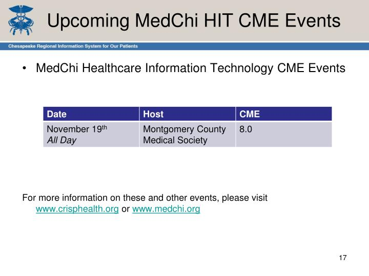 Upcoming MedChi HIT CME Events